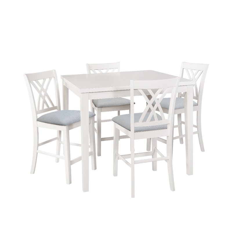 White 5 Piece Counter Height Dining Set Starla Rc Willey Furniture