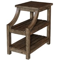 Rustic Curved Gray and Brown End Table - Marquette