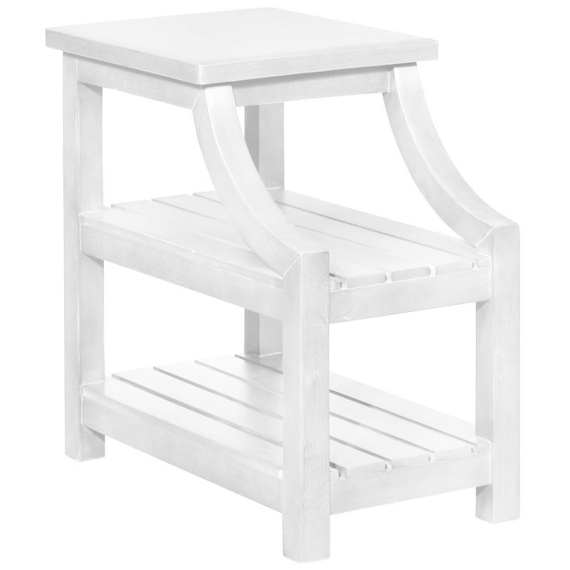 Classic Curved White End Table - Marquette