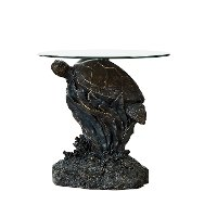 Rustic Turtle Glass Top Accent Table - Sheldon