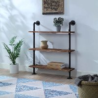 621130 Black and Brown Three Shelves with Piping - Anacortes