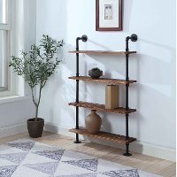 621140 Black and Brown Four Shelves with Piping - Anacortes