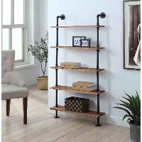 Black and Brown Five-Shelves with Piping - Anacortes
