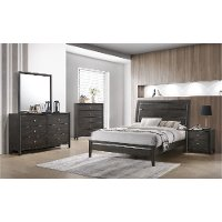 Contemporary Gray 4 Piece California King Bedroom Set - Grant