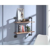 Black and Brown 2-Shelf Piping Wall Decor - Allentown