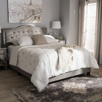 Contemporary Gray Queen Upholstered Bed - Emerson
