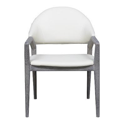 White and Gray Upholstered Dining Arm Chair - Carrera