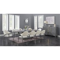 Contemporary Slate Gray and White 7 Piece Dining Set - Carrera