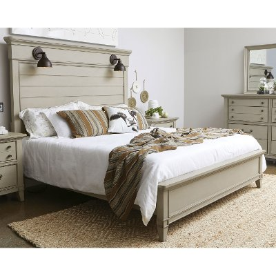 Clearance Farmhouse Rustic Taupe Queen Bed   Sausalito