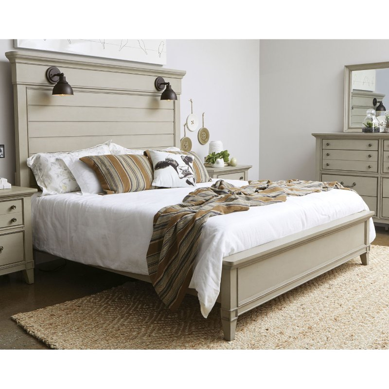 Farmhouse Rustic Taupe King Size Bed Sausalito Rc Willey Furniture Store