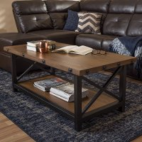 131-7195-RCW Textured Industrial Black and Brown Coffee Table - Herzen