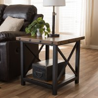 131-7196-RCW Textured Industrial Black and Brown End Table - Herzen