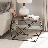 131-7198-RCW Textured Geometric Black and Brown End Table - Stilo