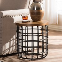 132-7212-RCW Industrial Caged Black and Brown End Table - Carie