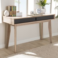 138-7713-RCW Modern 2-Drawer Oak and Gray Computer Desk - Fella