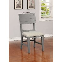 Gray Upholstered Dining Room Chair - American Vintage