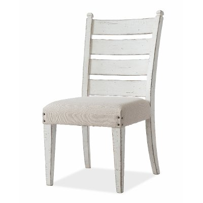 Rustic Chalk White Upholstered Dining Chair - Coming Home