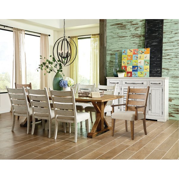 Brown And Chalk White Rustic 5 Piece Dining Set