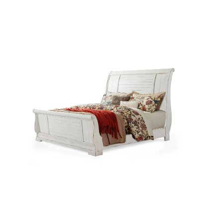 Rustic Chalk White Queen Sleigh Bed - Coming Home