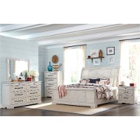 Rustic Chalk White 4 Piece Queen Bedroom Set - Coming Home