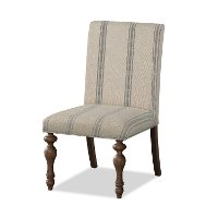 Cottage Cream and Blue Striped Upholstered Dining Chair - Laurel Grove