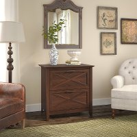 Cherry Brown 2 Drawer Wood Lateral File Cabinet - Key West