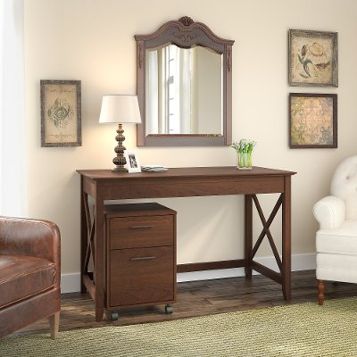 Cherry Brown Writing Desk And Rolling File Cabinet Combo   Key West