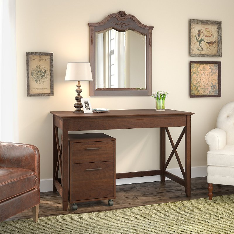 Cherry Brown Writing Desk and Rolling File Cabinet Combo - Key West