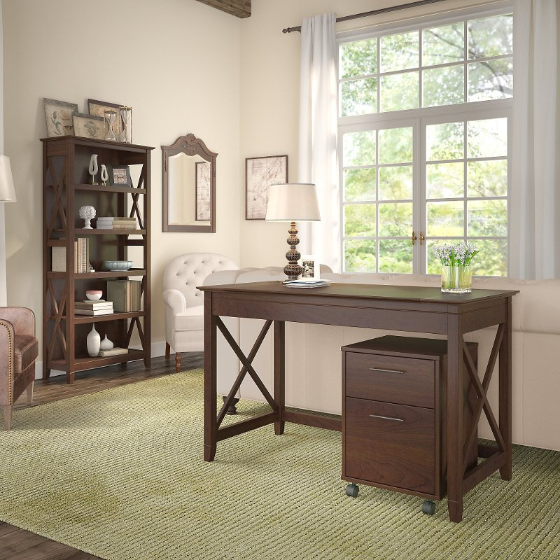 Brown Writing Desk, Rolling File Cabinet, and Bookshelf Combo.