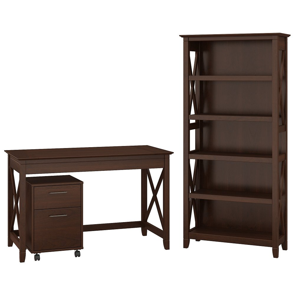 Brown Writing Desk Rolling File Cabinet And Bookshelf Combo Key West Rc Willey Furniture