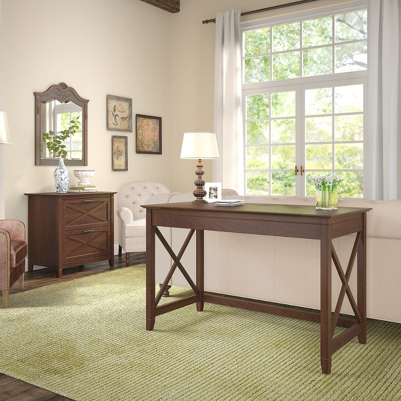 Cherry Brown Writing Desk and Lateral File Cabinet Combo - Key West