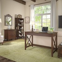 Brown Writing Desk, Lateral File Cabinet, and Bookshelf Combo - Key West