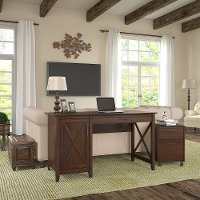 Cherry Brown Computer Desk and Rolling File Cabinet Combo - Key West