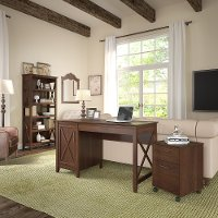 Brown Computer Desk, Rolling File Cabinet, and Bookshelf Combo - Key West