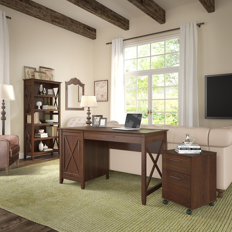 Brown Computer Desk, Rolling File Cabinet, and Bookshelf Combo.