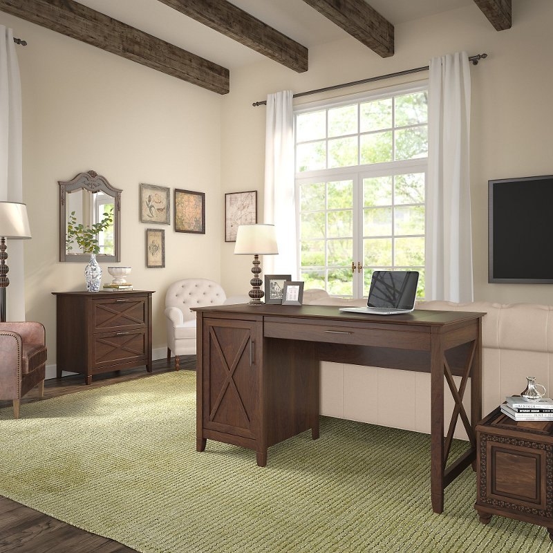 Cherry Brown Computer Desk and Lateral File Cabinet Combo - Key West