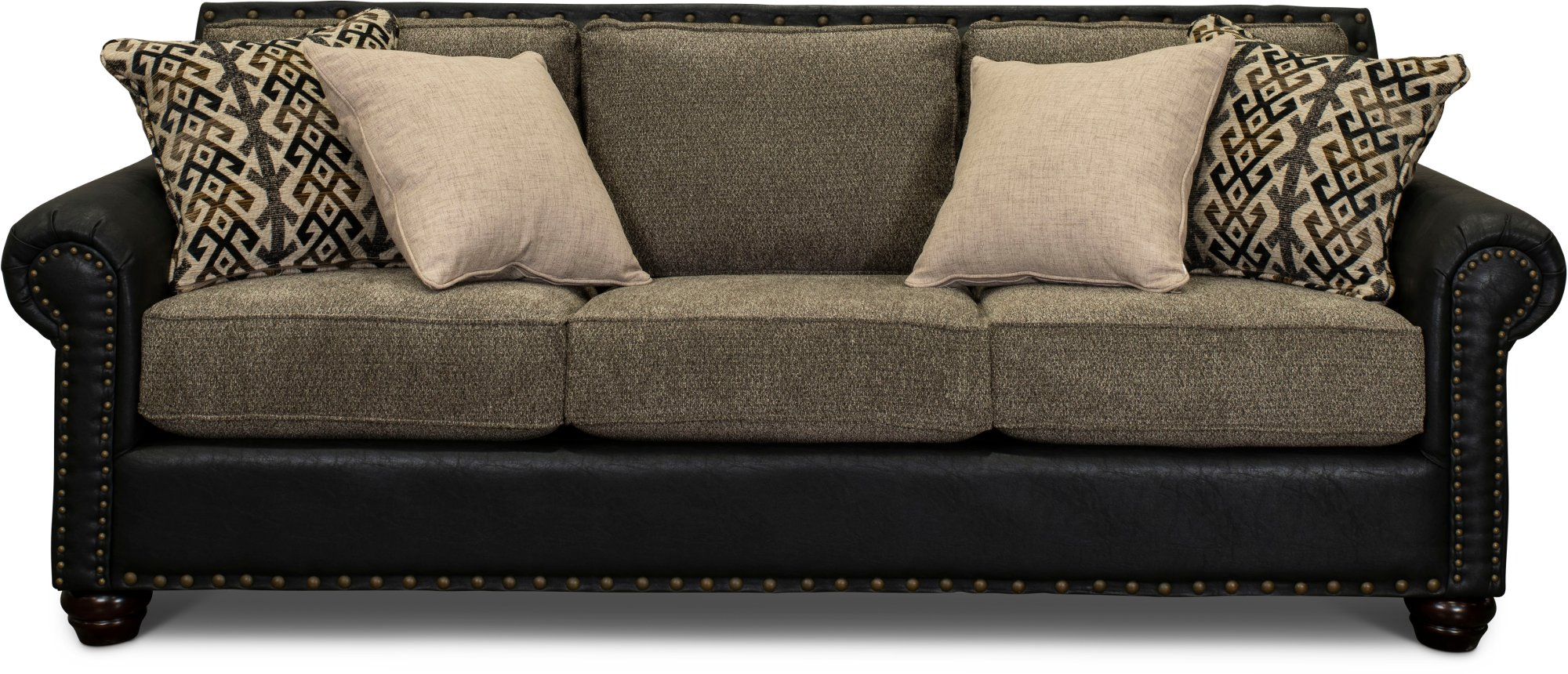 Rustic Traditional Black And Brown Sofa Marksman Rc Willey Furniture