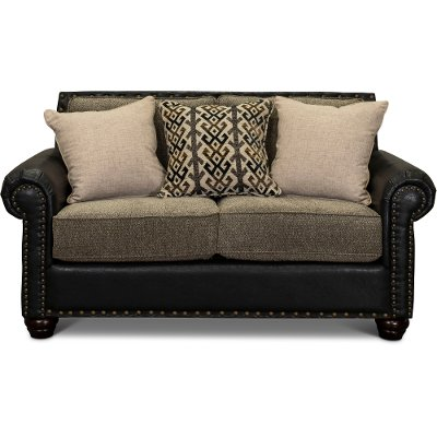 Rustic Traditional Black And Brown Loveseat Marksman