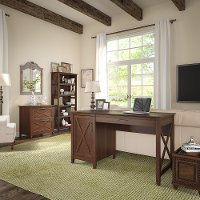 Brown Computer Desk, Lateral File Cabinet, and Bookshelf Combo - Key West