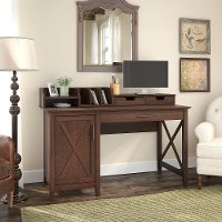 Cherry Brown Computer Desk with Desktop Organizers - Key West