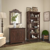 Cherry Brown Bookshelf and Laptop Storage Desk Combo - Key West