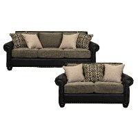 Rustic Black and Brown 2 Piece Living Room Set - Marksman