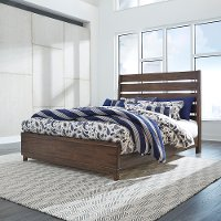 Contemporary Brown King Size Bed - Ventura
