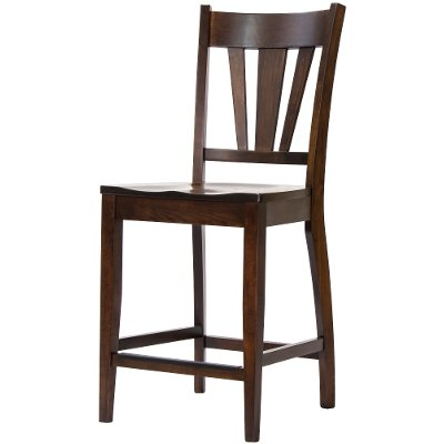 Maple Brown 24 Inch V-Back Counter Height Stool - Larkin