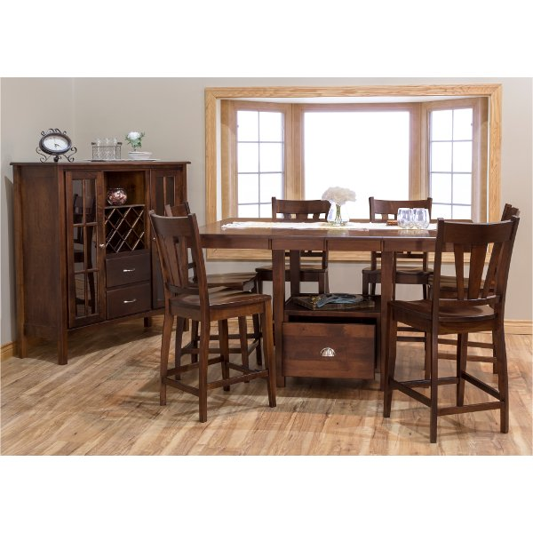 Maple Brown 5 Piece Counter Height Dining Set