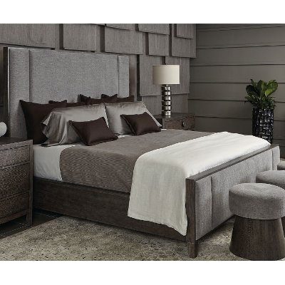 Rustic Modern Charcoal Queen Upholstered Bed - Linea
