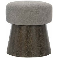 Rustic Modern Charcoal Gray Round Bench - Linea