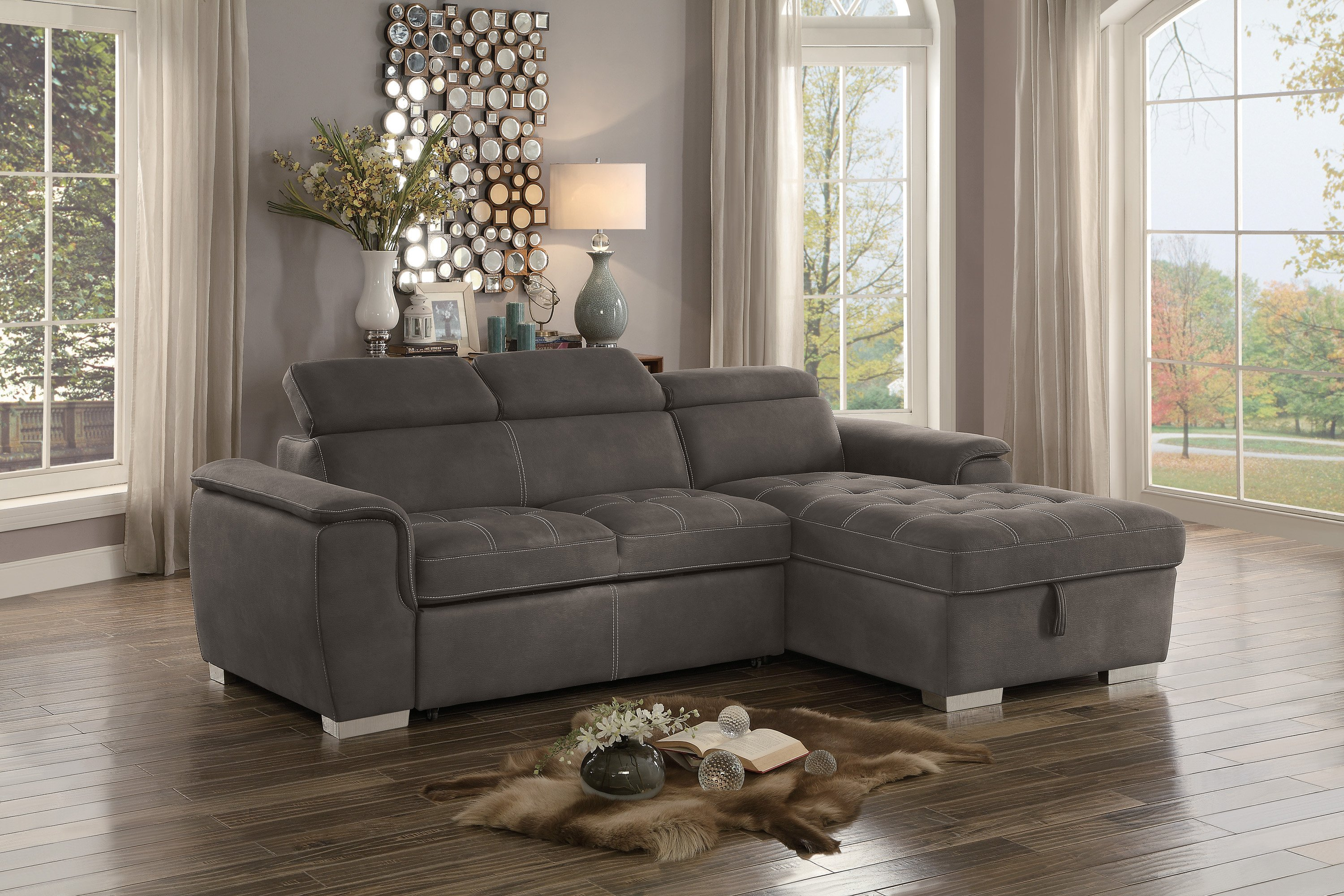 Homelegancetaupe Sectional Sofa With Pullout Sofa Bed And Right Side Storage Dailymail