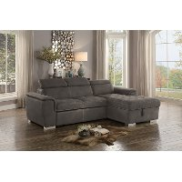 Taupe Sectional Sofa with Pullout Sofa Bed and Right-Side Storage Chaise - Ferriday