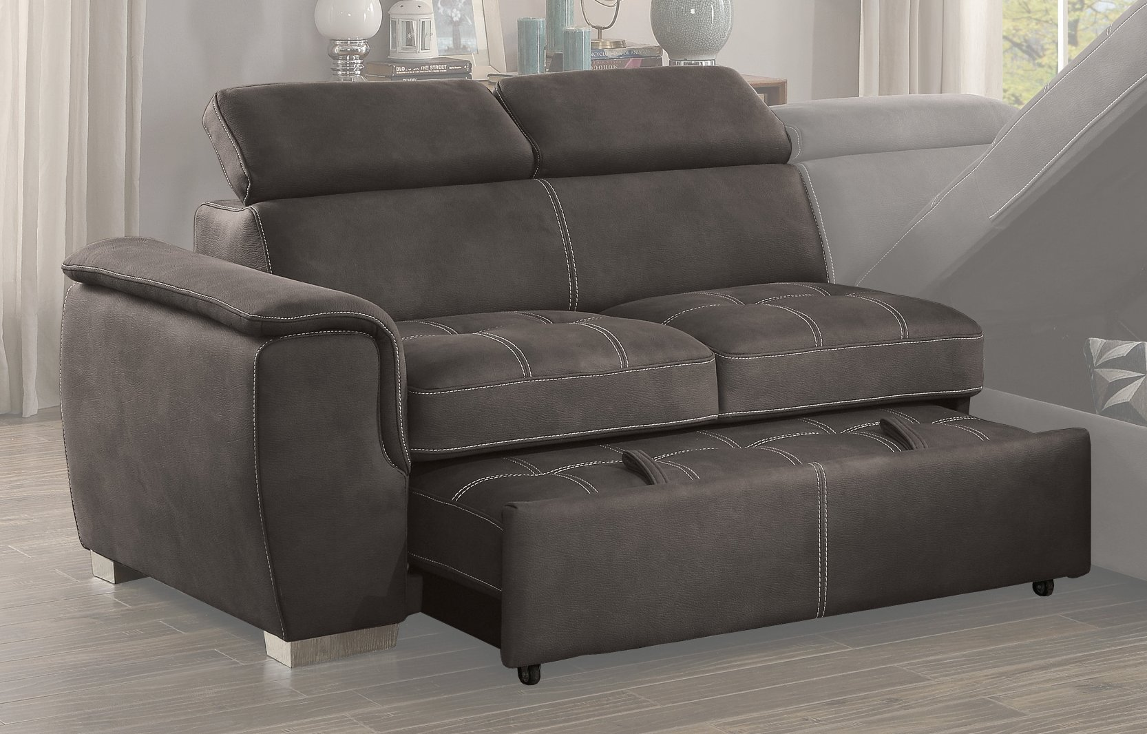 Taupe Sectional Sofa With Pullout Bed And Right Side Storage Chaise Ferriday Rc Willey Furniture